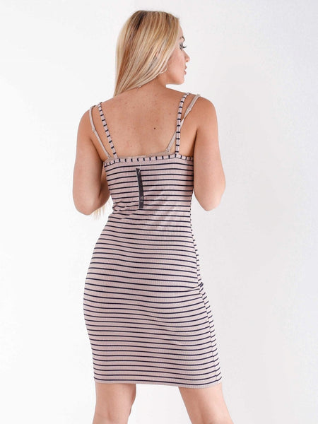 Street Style Stripe Slogan Dress - Inoxclothing