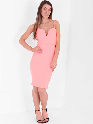 V Neck Detail Bandage Bodycon Dress