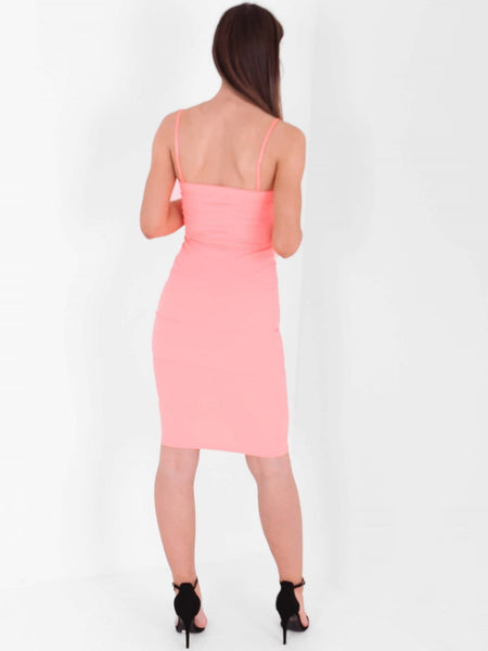 V Neck Detail Bandage Bodycon Dress - Inoxclothing