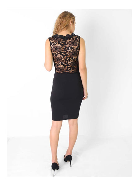 V Plunge Neck Lace Bodycon Dress - Inoxclothing