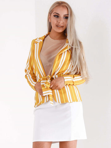 Yellow Stripe Belted Waist Blazer - Inoxclothing