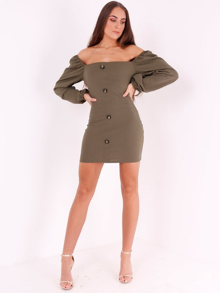 Off Shoulder Button Detail Mini Dress