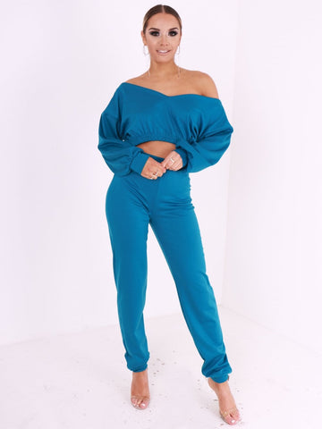 Off Shoulder Cropped Loungewear Set