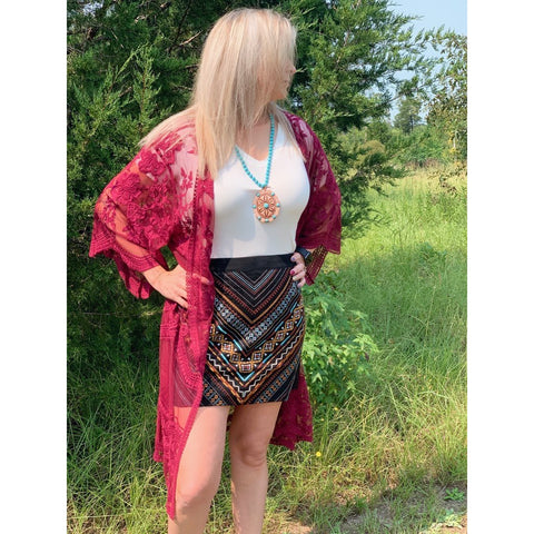 Aztec embroidered skirt