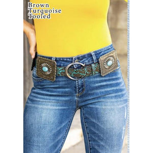 Brown turquoise tooled square Concho Belt