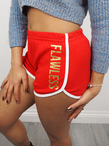 FLAWLESS SHORTS RED & GOLD FONT
