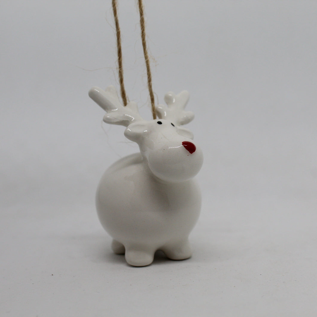Round Reindeer Christmas Tree Decoration