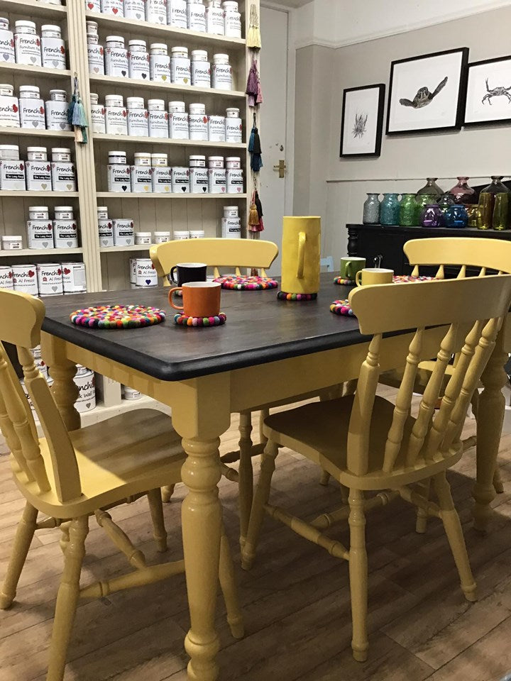 Pine Farmhouse Table and 4 Windsor Chairs