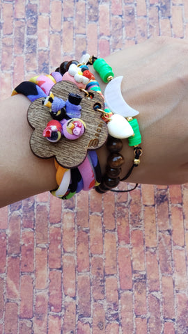 Wood Flower bracelet set