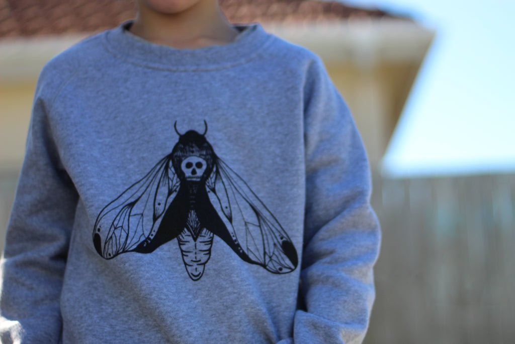 Big Kids Moth Sweater Grey Unisex