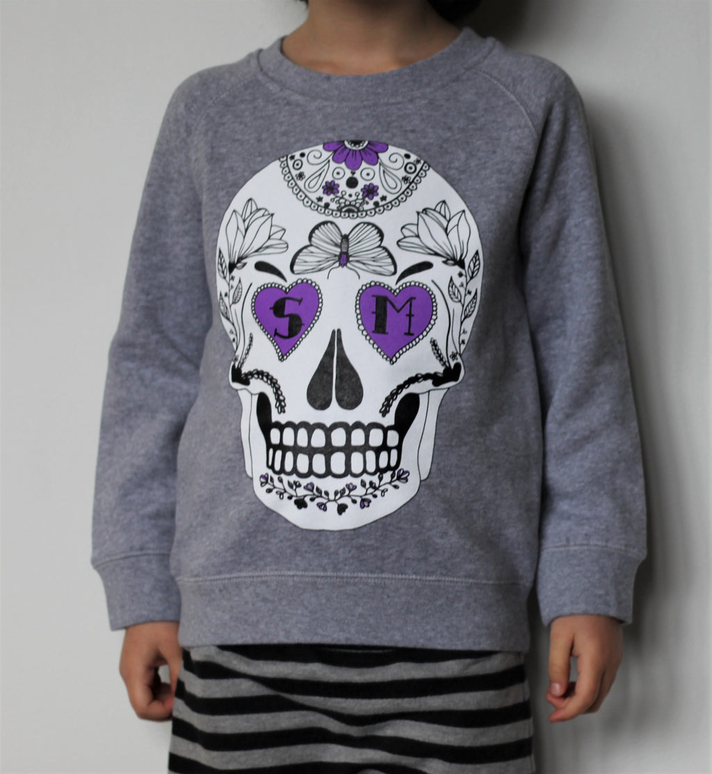 Big Kids Grey Skull Crew Sweater