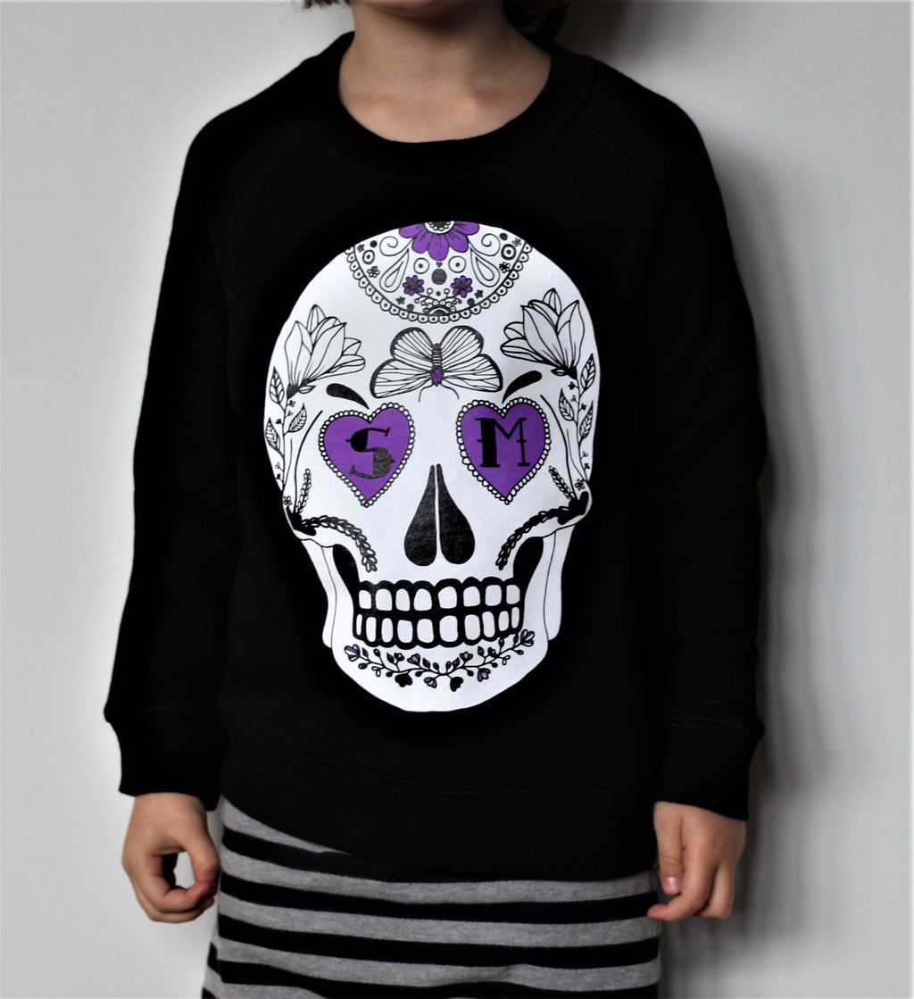 Lil Kids Black Skull Crew Sweater
