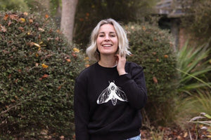 Womens Black Moth Crew Sweater