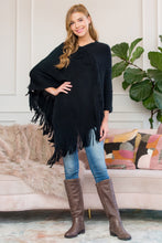 Load image into Gallery viewer, BLACK ASYMMETRIC FRINGE PONCHO