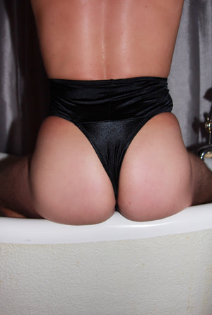 Satin High Waist Thong