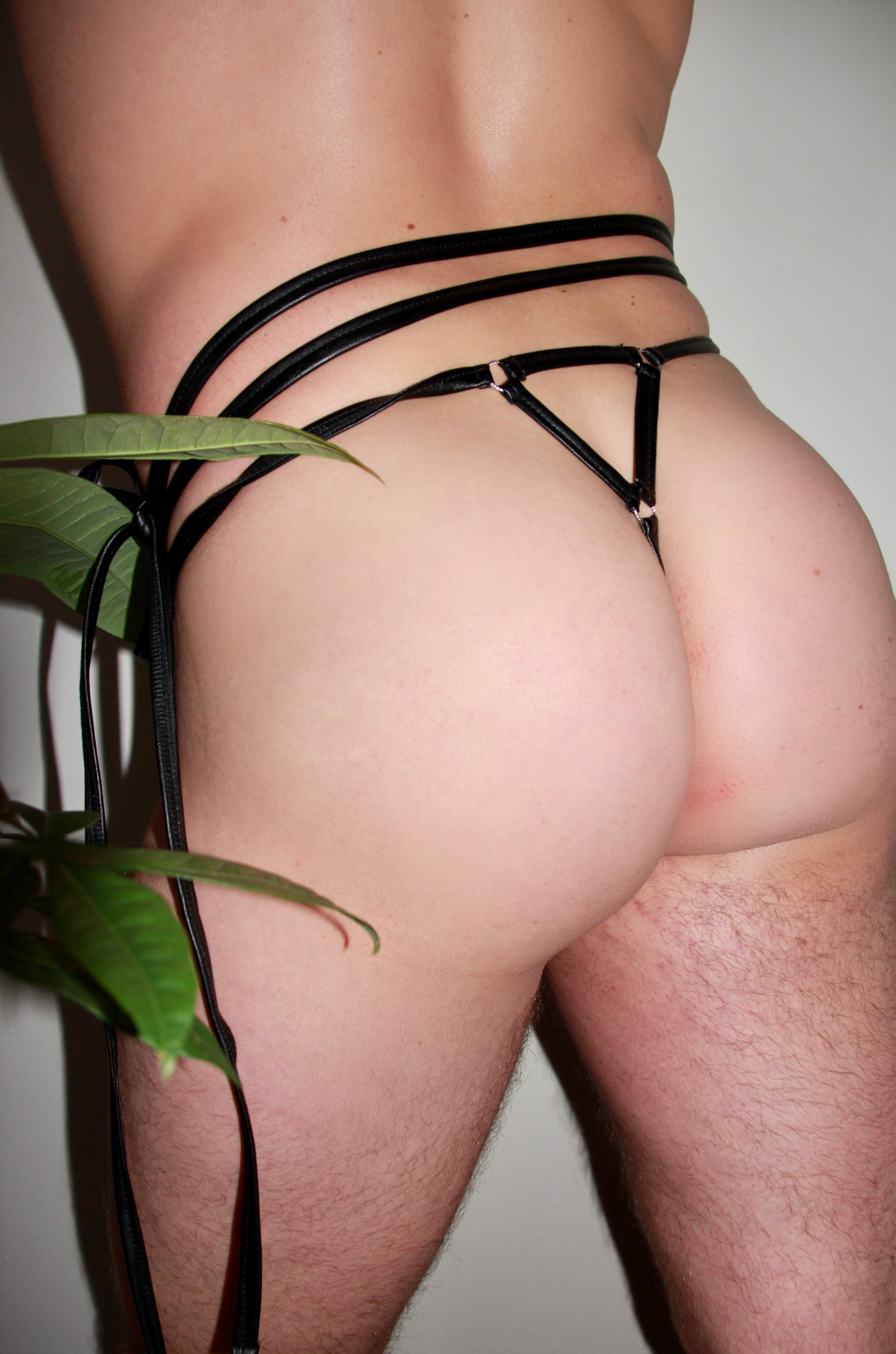 Feisty Leopard Leather Tie Thong