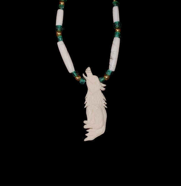 Carved Bone Necklace - Wolf