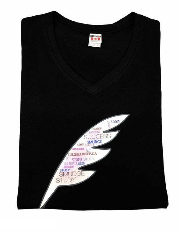 Women's Feather Print V-Neck