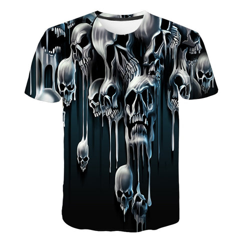 Mens Tops tee Men Short Sleeve Tops Shirt Fashion 3D Print Skulls Printing Men Hip hop T-shirt 2019 Latest Casual Breathable Te