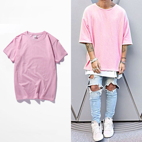 pink Hipster Harajuku T Shirt Men Casual t-shirt Men's hip hop Short Sleeve t shirt homme camiseta jersey Tee Top Brand Clothing