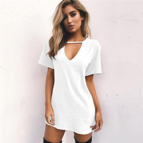 Drop Ship Tshirt mini Dress Choker V-neck Summer Tops Short Sleeve Casual Sexy Halter Boho Beach t-shirt NV108 P