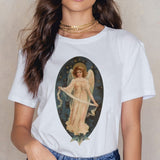 Angel 90s Fashion T Shirt Women Kawaii Print Short Sleeved O-neck T-shirt Vintage Vogue Ullzang Tshirt Harajuku Top Tees Female