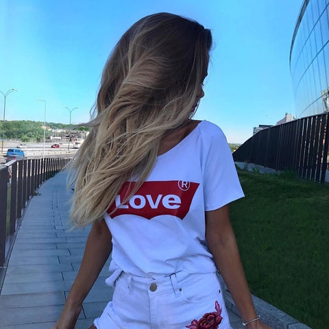 Love Printed New Women T-shirts Casual Harajuku Tops Tee Summer Female T shirt Short Sleeve T shirt For Women Clothing