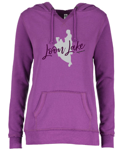 LL Lake Image Enza Ladies V-Notch Fleece Pullover Hood