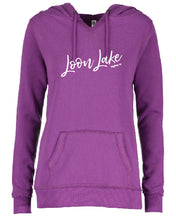 Load image into Gallery viewer, LL Loon Lake Words Only Enza Ladies V-Notch Fleece Pullover Hood