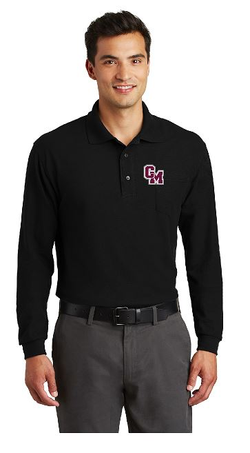Cal-Mum K500LSP Black Port Authority® Silk Touch™ Long Sleeve Polo with Pocket