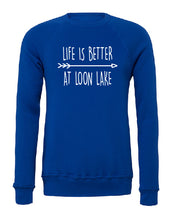 "Load image into Gallery viewer, LL ""Life is Better at Loon Lake"" Unisex Sponge Fleece Raglan Sweatshirt"
