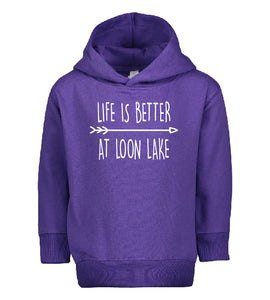 "LL ""Life is Better at Loon Lake"" Toddler Pullover Fleece Hoodie"
