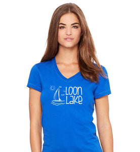 LL Sailboat Women's Jersey Short Sleeve V-neck Tee