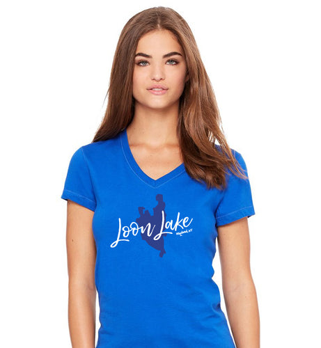 LL Lake Image Women's Jersey Short Sleeve V-neck Tee