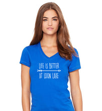 "Load image into Gallery viewer, LL ""Life is Better at Loon Lake"" Women's Jersey Short Sleeve V-neck Tee"