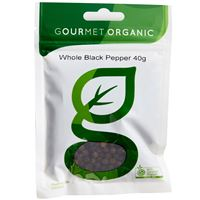Black Pepper Whole, Gourmet Organic 40g