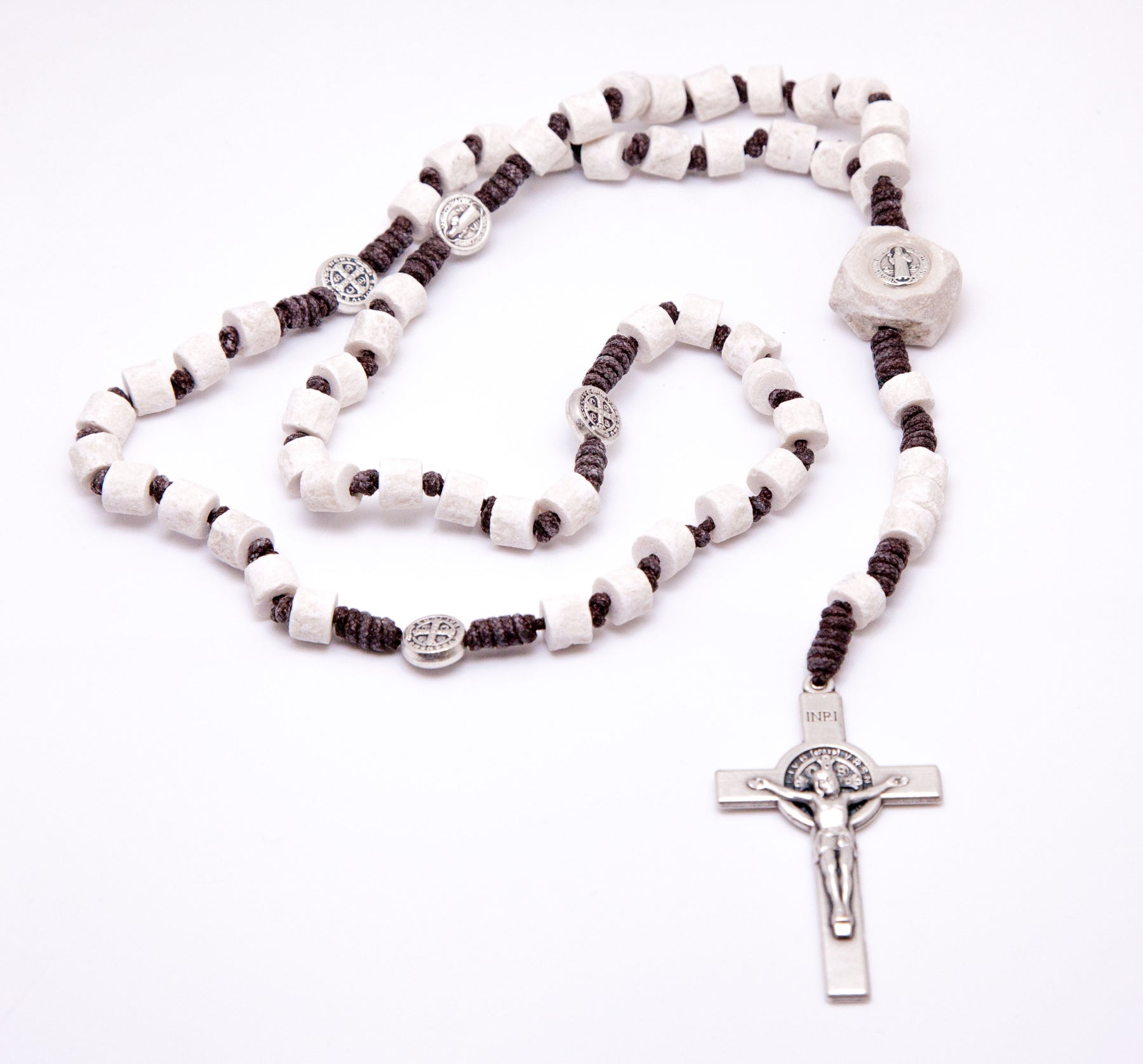 Medjugorje St. Benedict Stone Rosary - Brown Cord