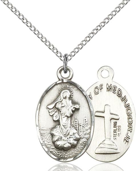 Sterling Silver Our Lady of Medjugorje Necklace Set