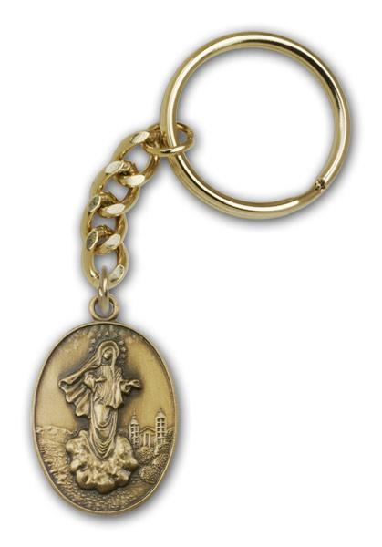 Antique Gold Medjugorje Keychain