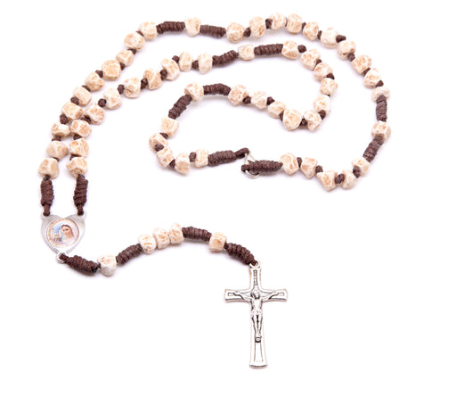Medjugorje Stone Heart Rosary- Brown Cord and Unpolished Stones