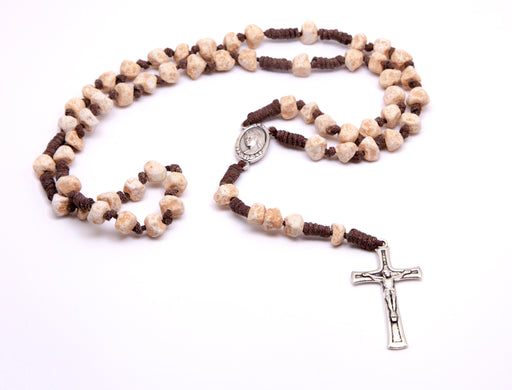 Medjugorje Stone Rosary- Brown Cord and Unpolished Stones