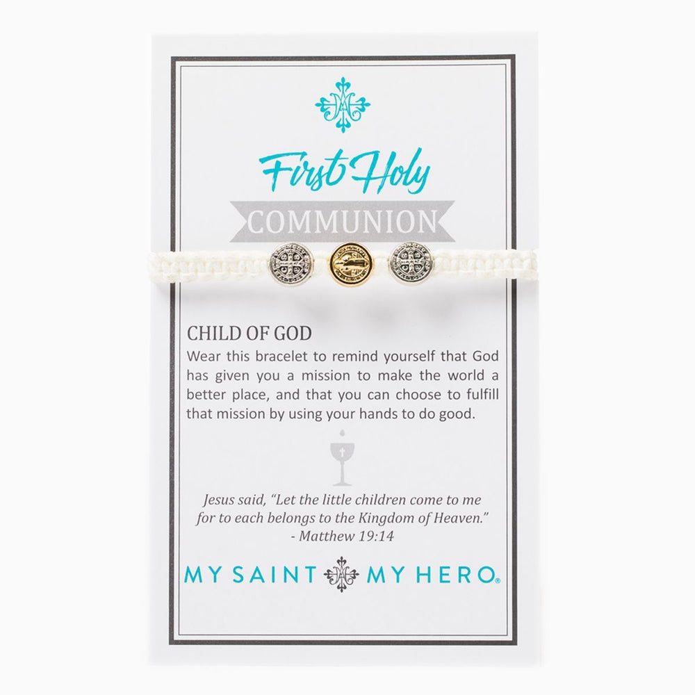 First Holy Communion Child of God Bracelet and White - Mixed Metal