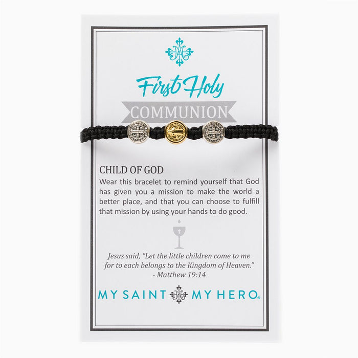 First Holy Communion Child of God Bracelet and Black - Mixed Metal