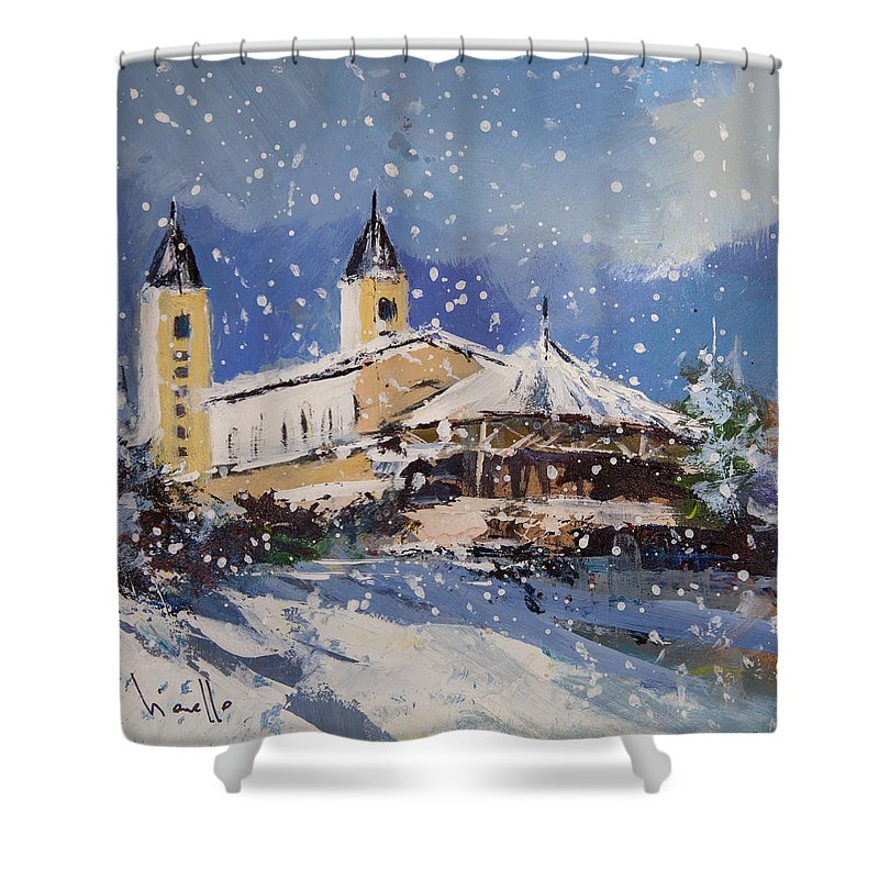 Snowy Medjugorje - Shower Curtain
