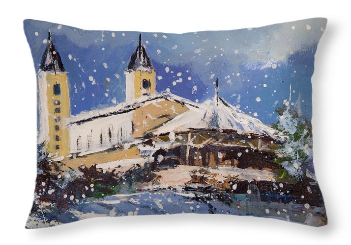 Snowy Medjugorje - Throw Pillow