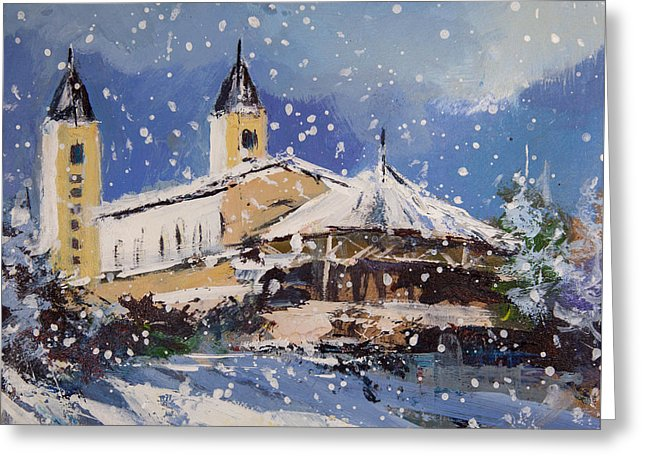 Snowy Medjugorje - Greeting Card