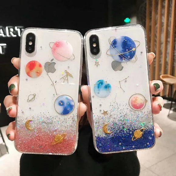 Glitter Gradient Planet Star Phone Case Back Cover - iPhone 11 Pro Max/11 Pro/11/XS Max/XR/XS/X/8 Plus/8/7 Plus/7 - halloladies