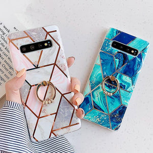 Artistic Geometric Marble Texture with Ring Holder Soft TPU Phone Case Back Cover - Samsung Galaxy S20 Ultra/S20 Plus/S20/S10E/S10 Plus/S10/S9 Plus/S9/S8 Plus/S8/Note 9/Note 8 - halloladies