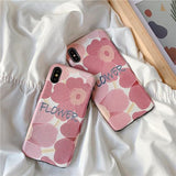 Pink Flower Painting Silk Texture Phone Case Back Cover for iPhone XS Max/XR/XS/X/8 Plus/8/7 Plus/7/6s Plus/6s/6 Plus/6 - halloladies