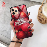 Cartoon Christmas Tempered Glass Phone Case Back Cover - iPhone 11/11 Pro/11 Pro Max/XS Max/XR/XS/X/8 Plus/8/7 Plus/7 - halloladies